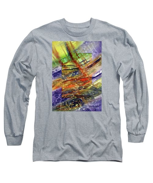 Long Sleeve T-Shirt featuring the painting Colors Interrupting by Allison Ashton
