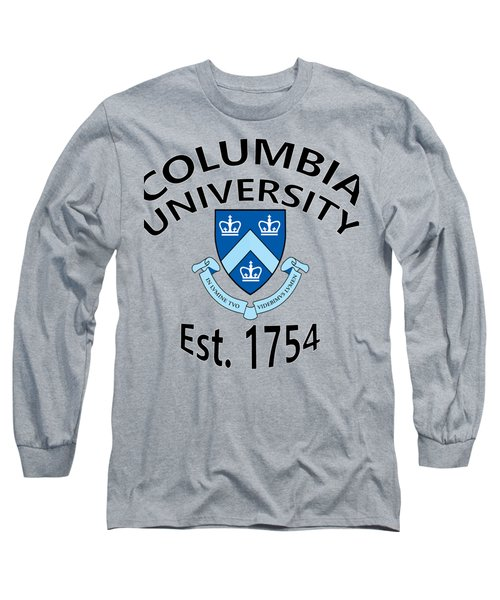 Long Sleeve T-Shirt featuring the digital art Columbia University Est 1754 by Movie Poster Prints