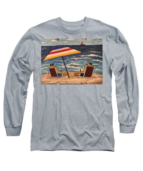 Long Sleeve T-Shirt featuring the painting Comb Over Brothers by Jeffrey Koss