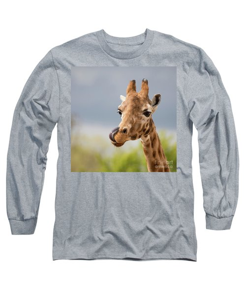 Comical Giraffe With His Tongue Out.  Long Sleeve T-Shirt