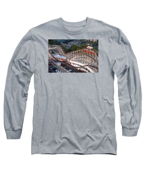 Long Sleeve T-Shirt featuring the photograph Coney Island Cyclone by James Kirkikis