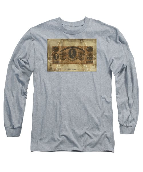 Long Sleeve T-Shirt featuring the digital art Confederate $100 Virginia Note by Melissa Messick