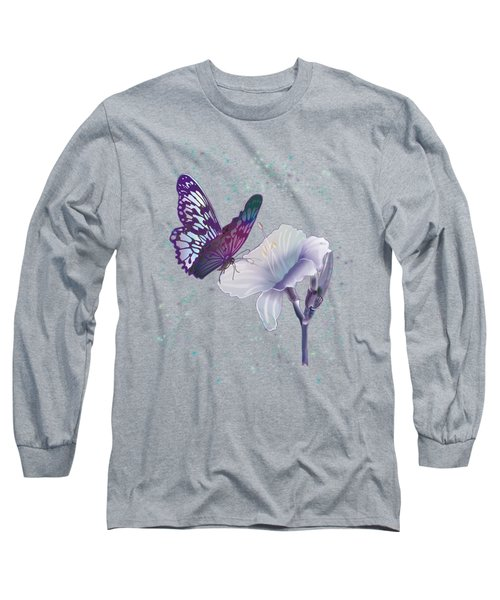 Contemporary Painting Of A Dancing Butterfly  Long Sleeve T-Shirt by Regina Femrite