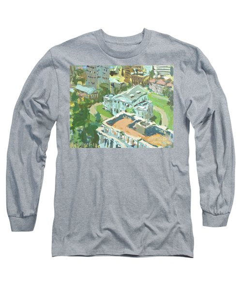 Long Sleeve T-Shirt featuring the painting Contemporary Richmond Virginia Cityscape Painting Featuring Virginia State Capitol Building by Robert Joyner