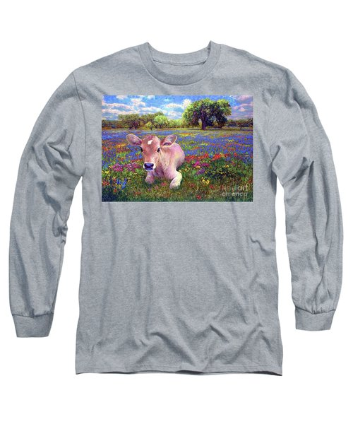 Contented Cow In Colorful Meadow Long Sleeve T-Shirt