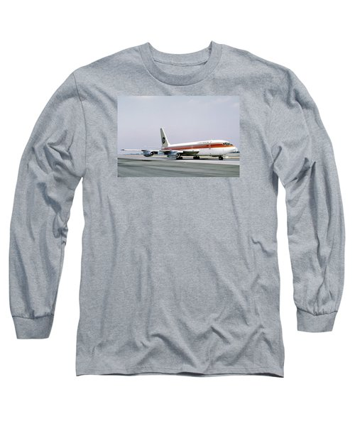 Continental Airlines 720-024b N17207 Los Angeles July 22 1972 Long Sleeve T-Shirt by Brian Lockett