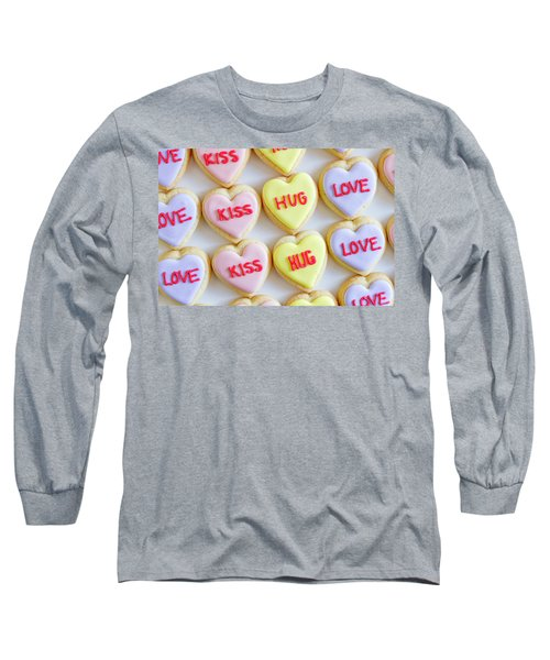 Long Sleeve T-Shirt featuring the photograph Conversation Heart Decorated Cookies by Teri Virbickis