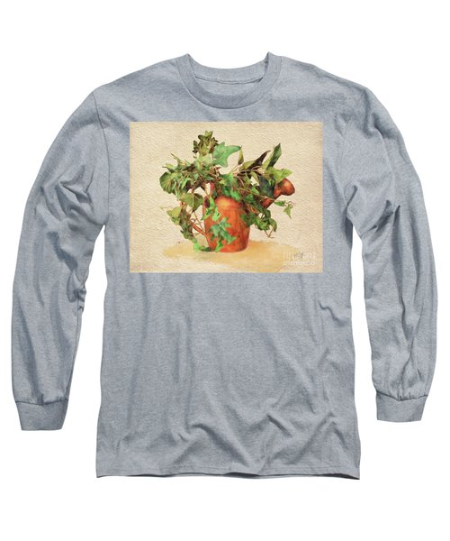 Long Sleeve T-Shirt featuring the digital art Copper Watering Can by Lois Bryan