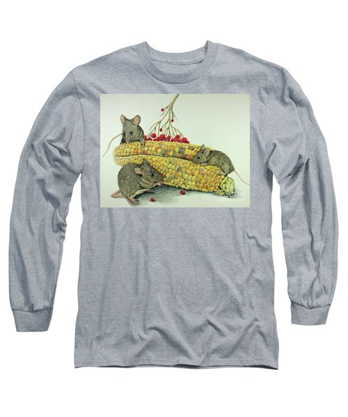Long Sleeve T-Shirt featuring the drawing Corn Meal by Terri Mills