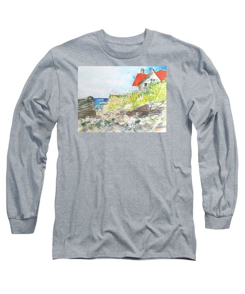 Long Sleeve T-Shirt featuring the painting Cornfield Point Old Saybrook by Gertrude Palmer