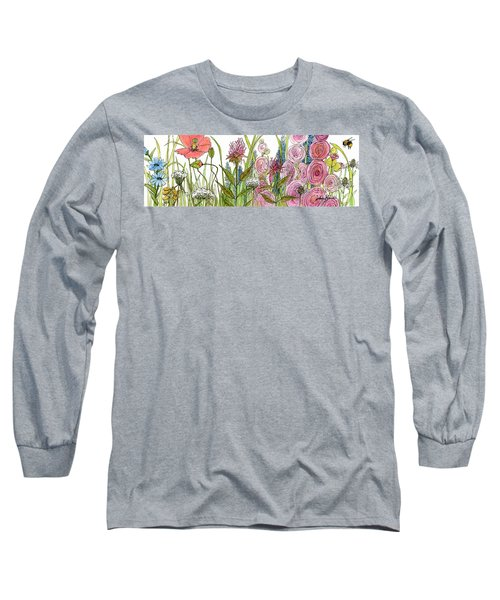 Cottage Hollyhock Garden Long Sleeve T-Shirt by Laurie Rohner