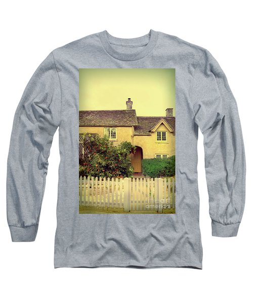 Cottage With A Picket Fence Long Sleeve T-Shirt by Jill Battaglia