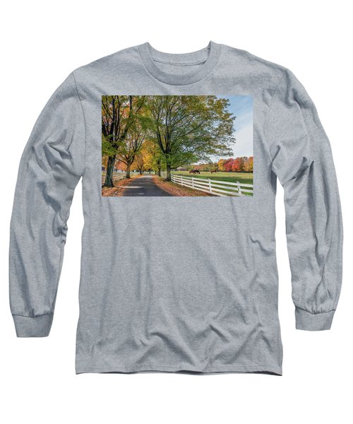 Country Road In Rural Maryland During Autumn Long Sleeve T-Shirt