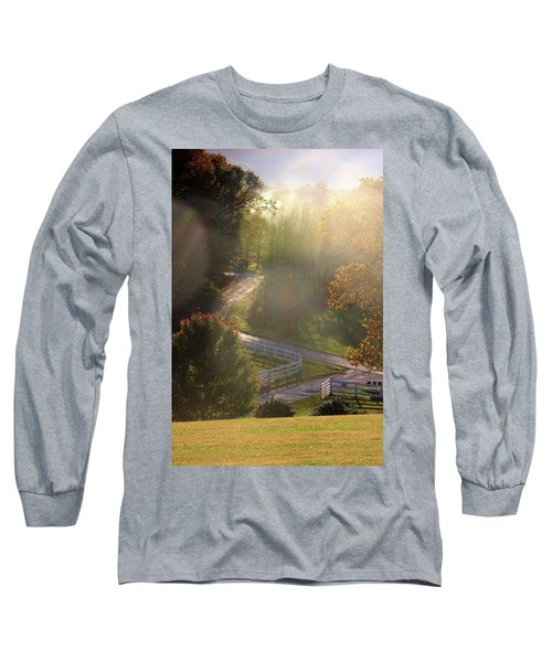 Country Road In Rural Virginia, With Trees Changing Colors In Autumn Long Sleeve T-Shirt