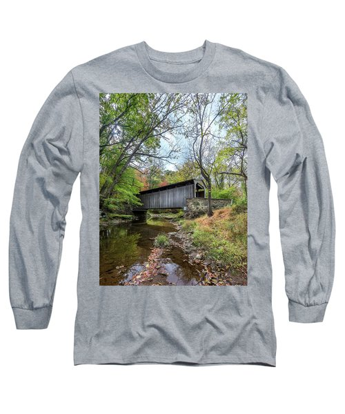 Covered Bridge In Pennsylvania During Autumn Long Sleeve T-Shirt