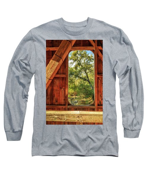Long Sleeve T-Shirt featuring the photograph Covered Bridge Window by James Eddy