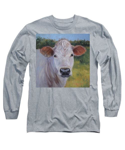 Cow Painting Ms Ivory Long Sleeve T-Shirt by Cheri Wollenberg