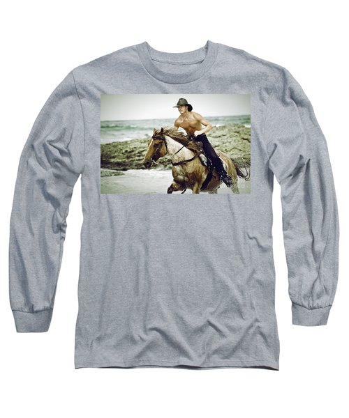 Cowboy Riding Horse On The Beach Long Sleeve T-Shirt