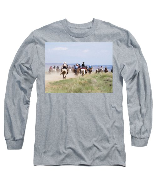 Cowboys And Cowgirls Riding Horses At The Sombrero Horse Drive Long Sleeve T-Shirt