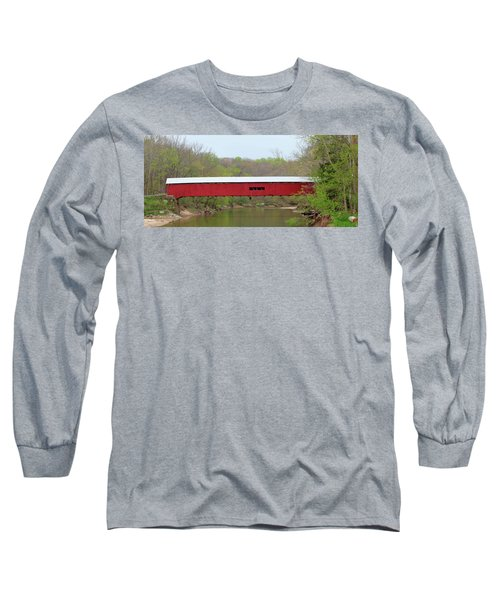 Long Sleeve T-Shirt featuring the photograph Cox Ford Covered Bridge - Sideview by Harold Rau