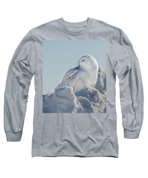 Long Sleeve T-Shirt featuring the photograph Coy Snowy Owl by Rikk Flohr