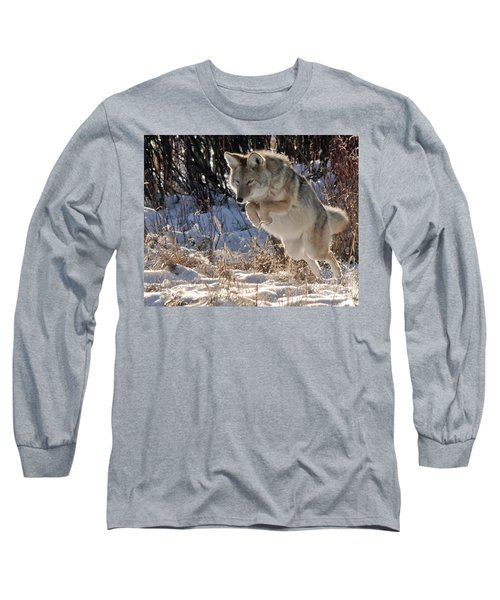Coyote In Mid Jump Long Sleeve T-Shirt