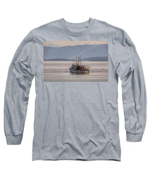 Crabbing Long Sleeve T-Shirt by Randy Hall