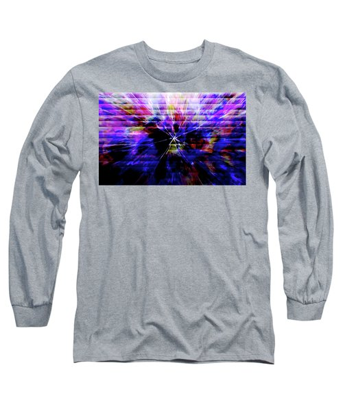 Cracked Abstract Blue Long Sleeve T-Shirt by Carol Crisafi