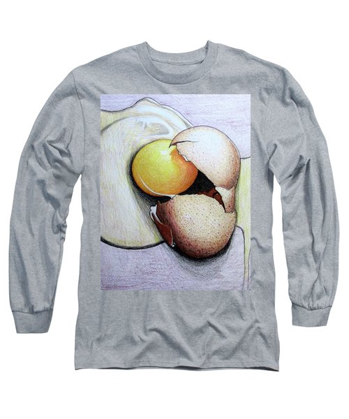 Cracked Egg Long Sleeve T-Shirt by Mary Ellen Frazee