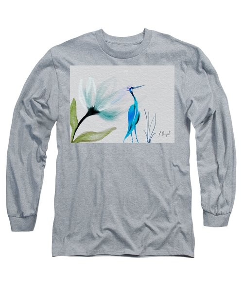 Crane And Flower Abstract Long Sleeve T-Shirt by Frank Bright
