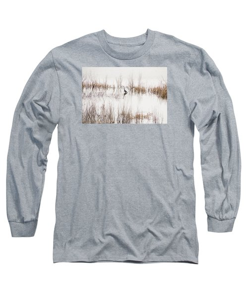 Long Sleeve T-Shirt featuring the photograph Crane In Reeds by Laura Pratt