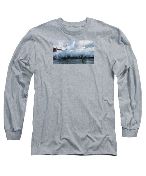 Long Sleeve T-Shirt featuring the photograph Crashing Wave Golden Gate Bridge King Tide by Steve Siri