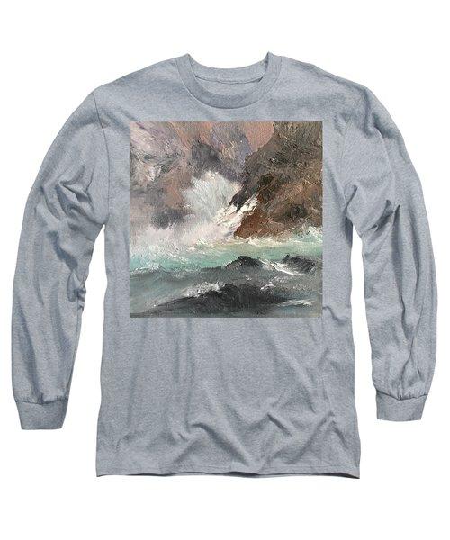 Crashing Waves Seascape Art Long Sleeve T-Shirt by Michele Carter