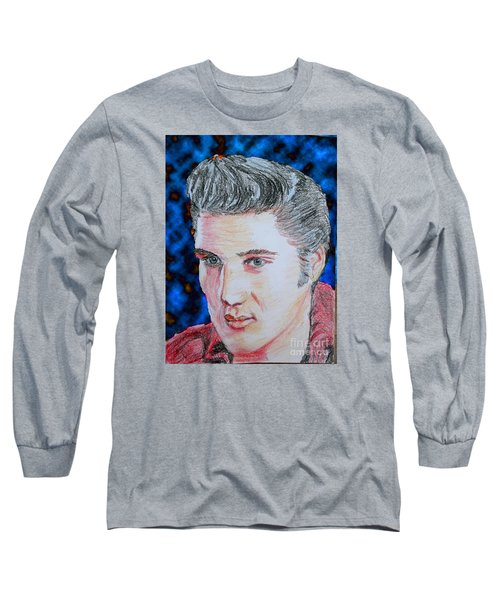 Long Sleeve T-Shirt featuring the drawing Crayon Elvis by Lyric Lucas