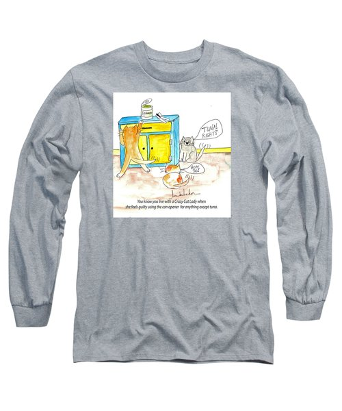 Long Sleeve T-Shirt featuring the painting Crazy Cat Lade 0008 by Lou Belcher