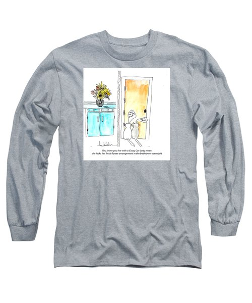 Long Sleeve T-Shirt featuring the painting Crazy Cat Lady 0002 by Lou Belcher