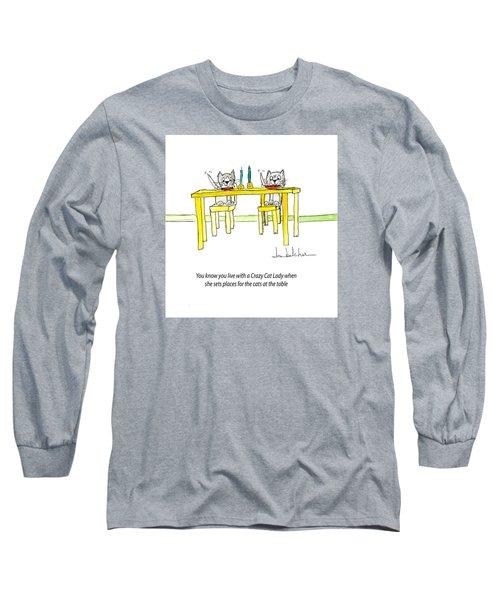 Crazy Cat Lady 0007 Long Sleeve T-Shirt by Lou Belcher