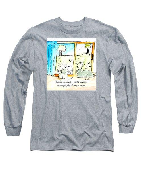 Crazy Cat Lady 0010 Long Sleeve T-Shirt by Lou Belcher