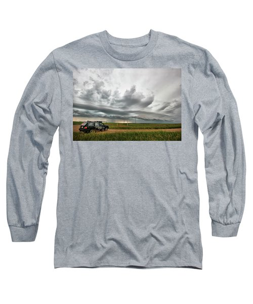 Long Sleeve T-Shirt featuring the photograph Crazy Shelf Cloud Near Ponteix Sk. by Ryan Crouse