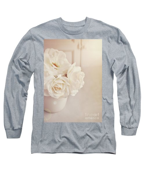 Long Sleeve T-Shirt featuring the photograph Cream Roses In Vase by Lyn Randle