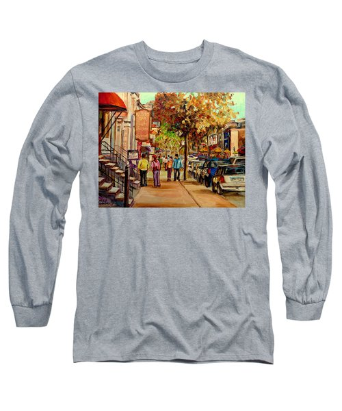 Crescent Street Montreal Long Sleeve T-Shirt by Carole Spandau