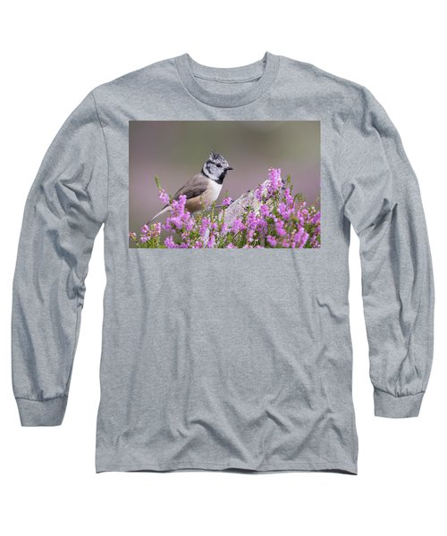 Long Sleeve T-Shirt featuring the photograph Crested Tit In Heather by Karen Van Der Zijden