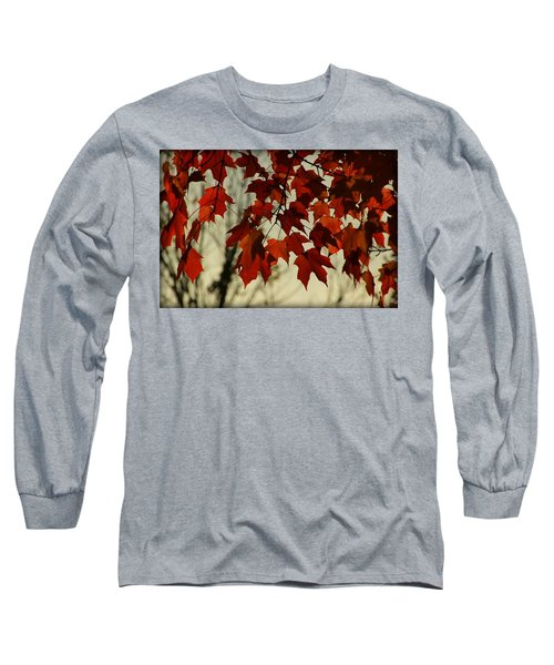 Long Sleeve T-Shirt featuring the photograph Crimson Red Autumn Leaves by Chris Berry