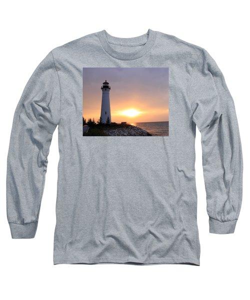 Crisp Point Lighthouse At Sunset Long Sleeve T-Shirt by George Jones