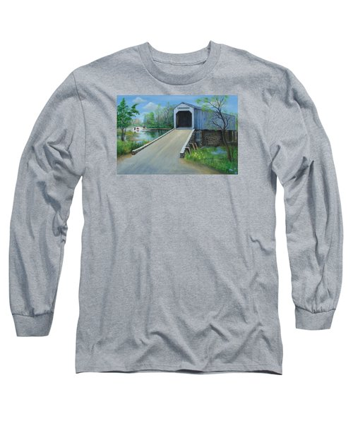 Crossing At The Covered Bridge Long Sleeve T-Shirt by Oz Freedgood