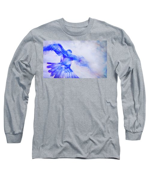 Long Sleeve T-Shirt featuring the photograph Crow In Flight by Theresa Tahara