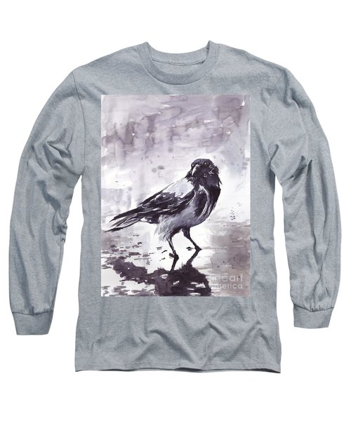 Crow Watercolor Long Sleeve T-Shirt