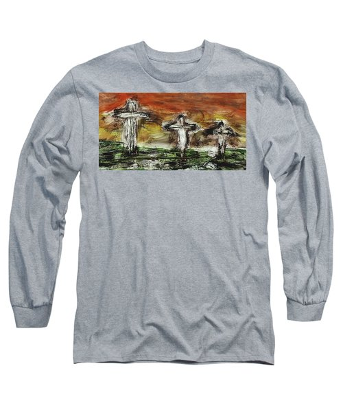 Long Sleeve T-Shirt featuring the painting Crucifixion #2 by Michael Lucarelli