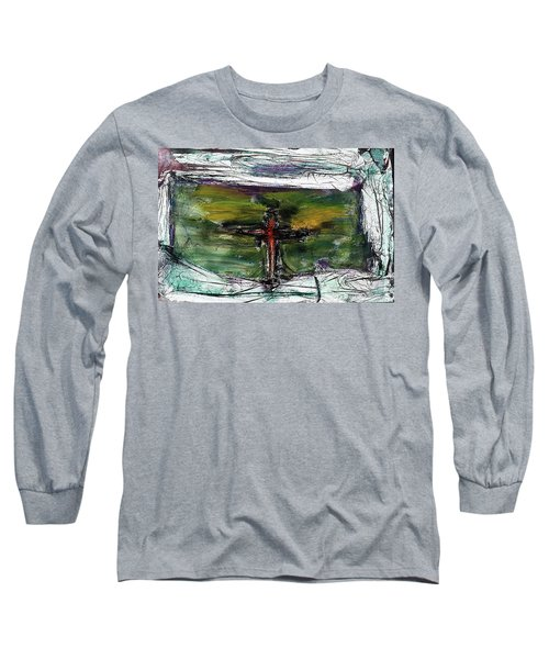 Long Sleeve T-Shirt featuring the painting Crucifixion #3 by Michael Lucarelli