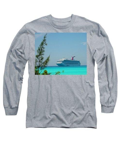 Cruise Ship At Half Moon Cay Long Sleeve T-Shirt